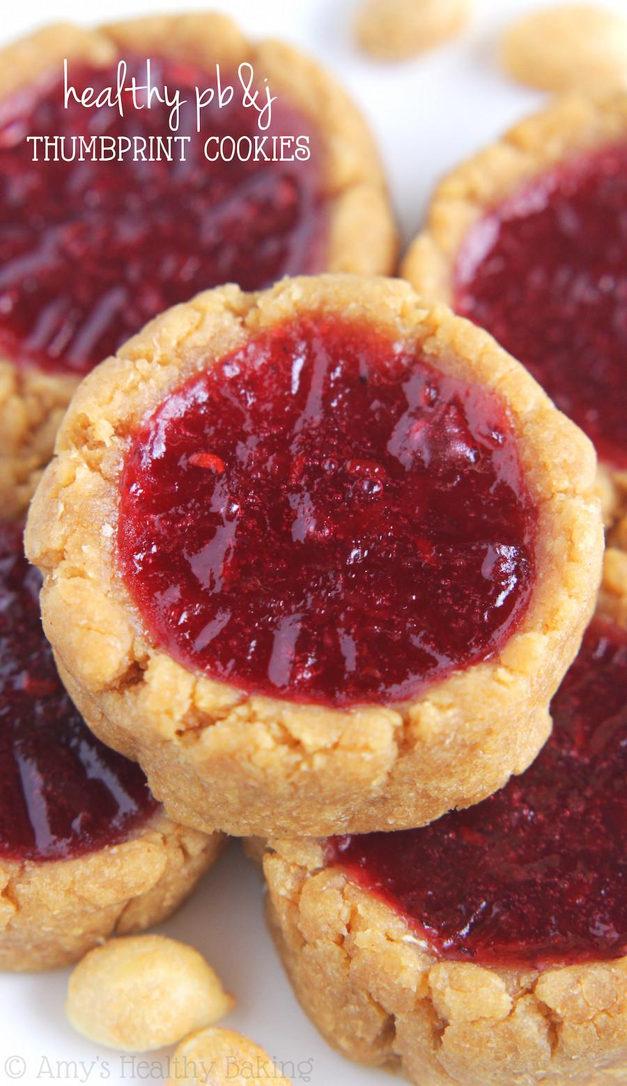 Healthy Thumbprint Cookies  Peanut Butter & Jam Thumbprint Cookies