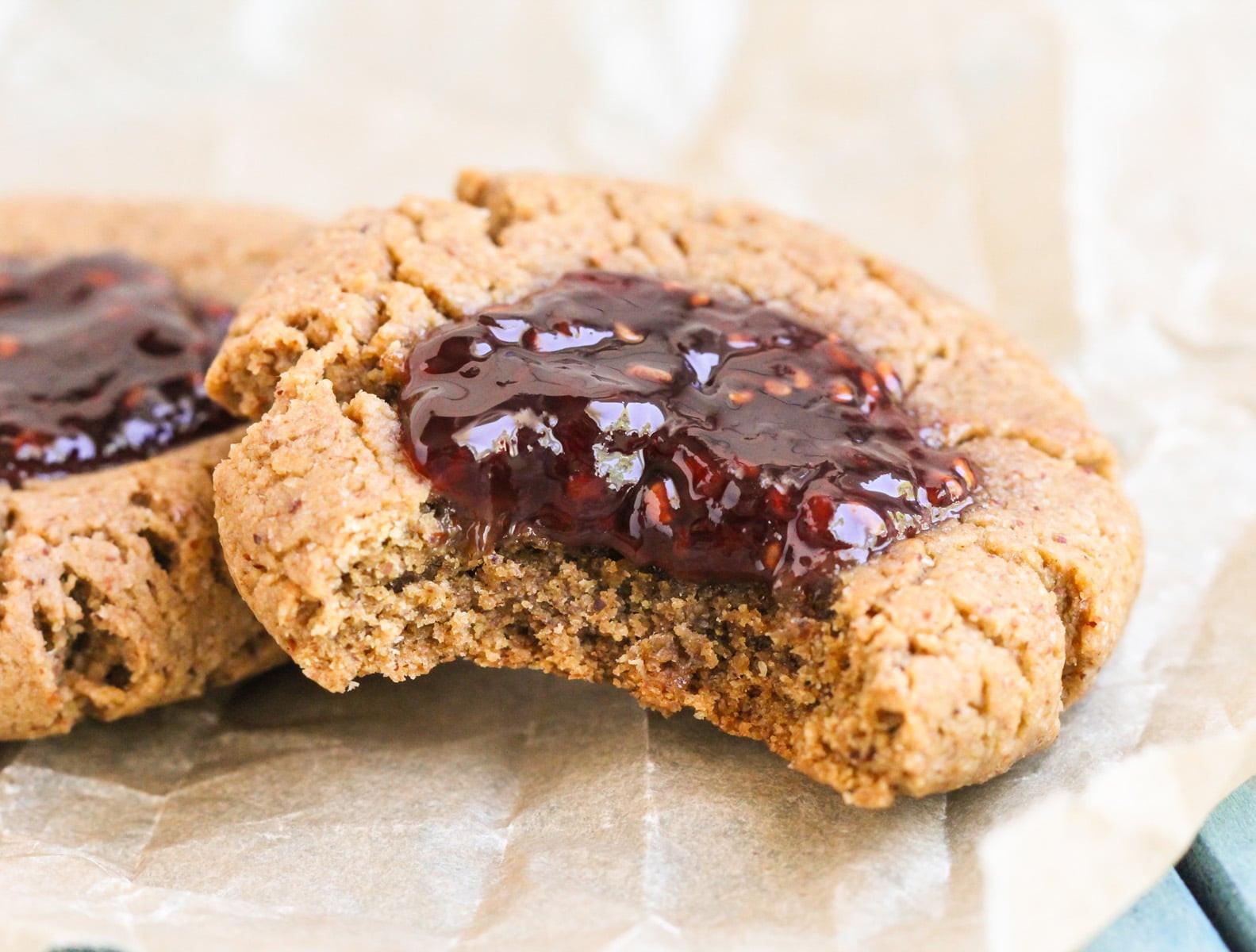 Healthy Thumbprint Cookies  8 ingre nt Chewy Thumbprint Cookies