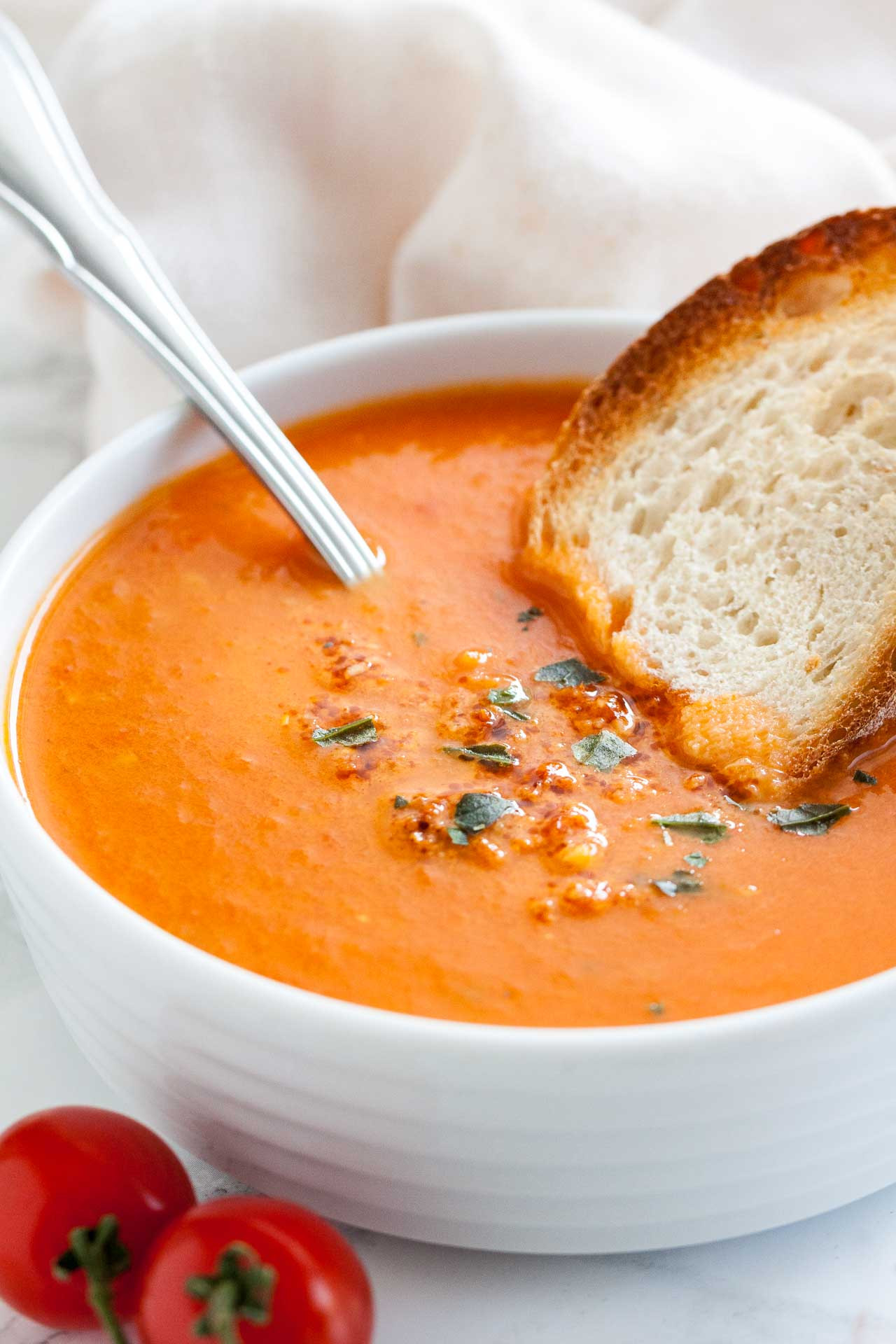 Healthy Tomato Soup Recipe  Creamy Roasted Tomato Soup with Basil