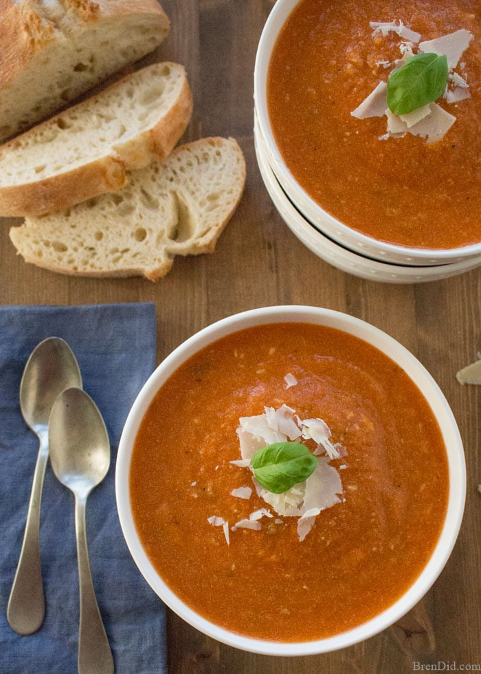 Healthy Tomato Soup Recipe  Healthy Slow Cooker Tomato Basil Parmesan Soup Recipe