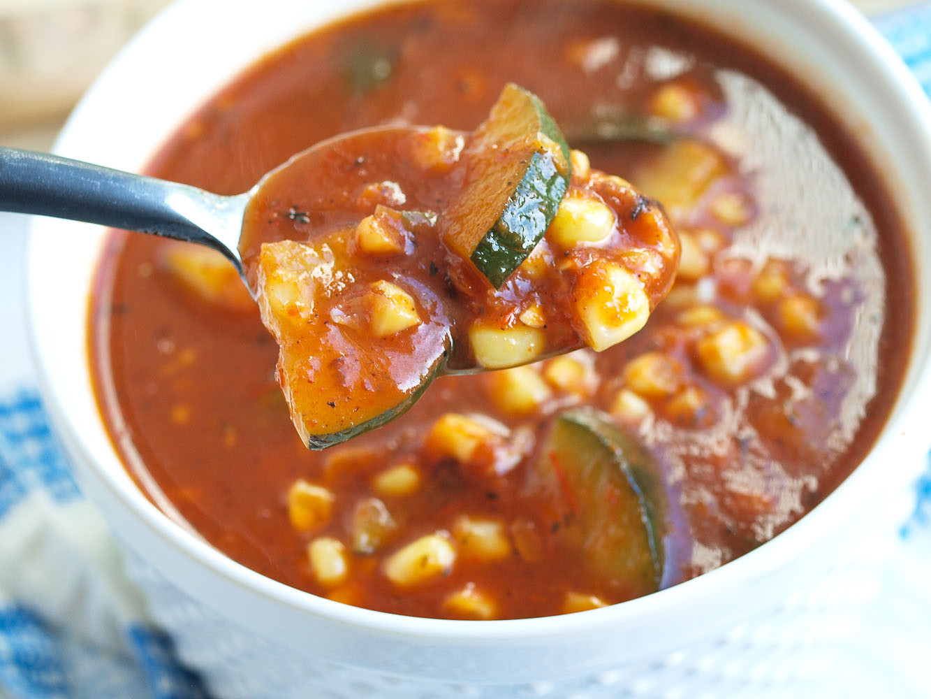 Healthy Tomato Soup Recipe  Roasted Tomato and Red Pepper Soup with Zucchini and Corn