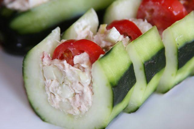 Healthy Tuna Snacks  healthy tuna salad cucumber boat perfect as a healthy