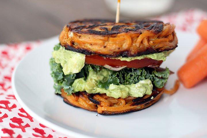 Healthy Turkey Burgers Without Bread  Recipe Spiralized Sandwich Bun Inspiralized