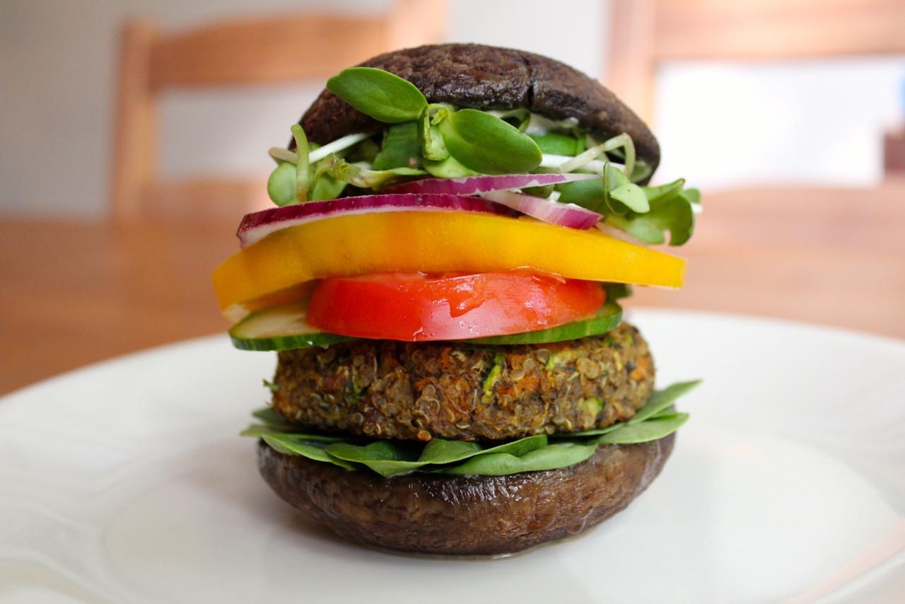 Healthy Turkey Burgers Without Bread  Healthy Quinoa Burgers with Portobello Mushroom Buns