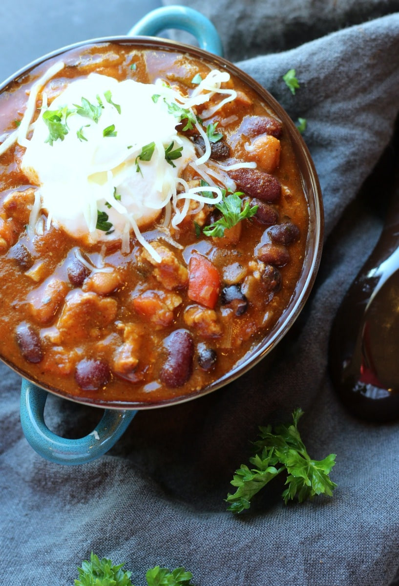 Healthy Turkey Chili  Slow Cooker Turkey Chili