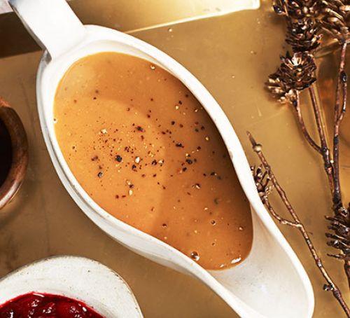 Healthy Turkey Gravy  Turkey & chestnut gravy recipe