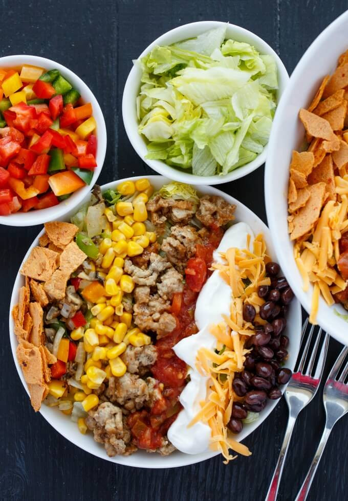 Healthy Turkey Taco Salad  Ground Turkey Taco Salad The Cookie Writer