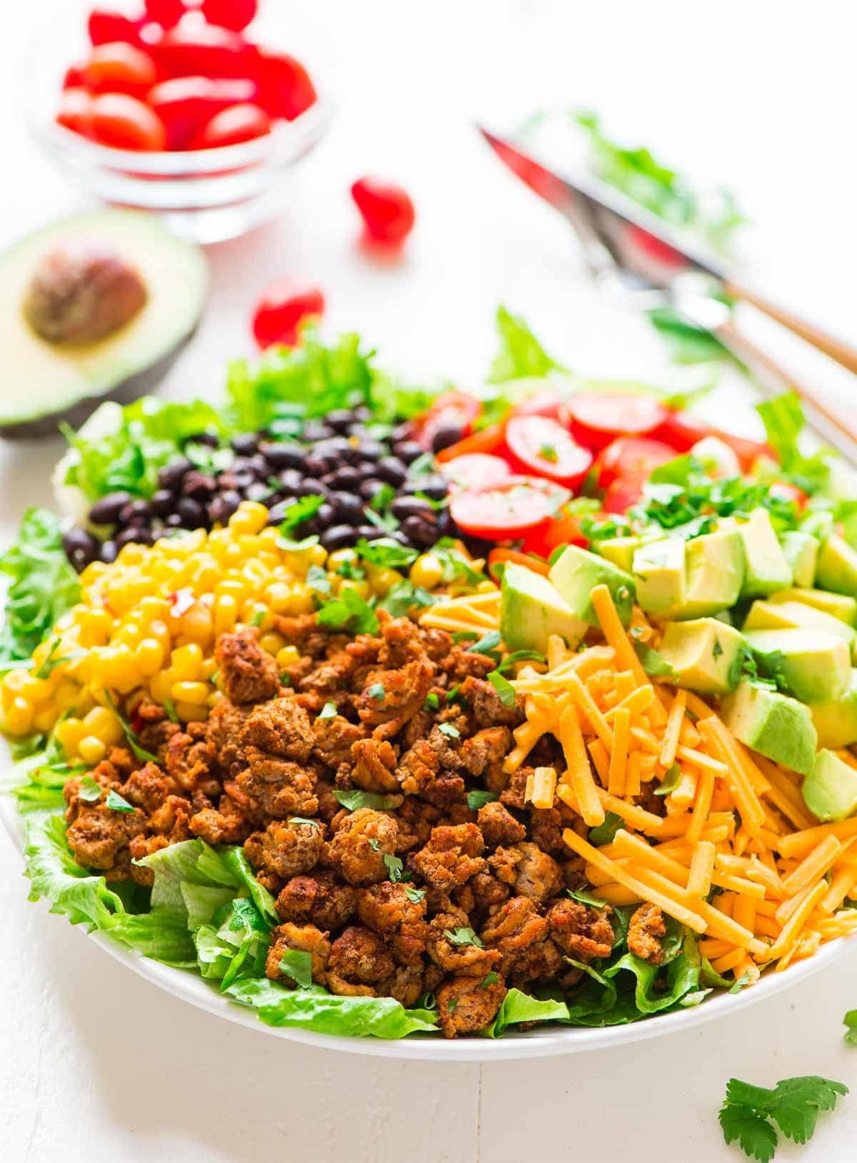 Healthy Turkey Taco Salad  Skinny Taco Salad with Ground Turkey and Avocado