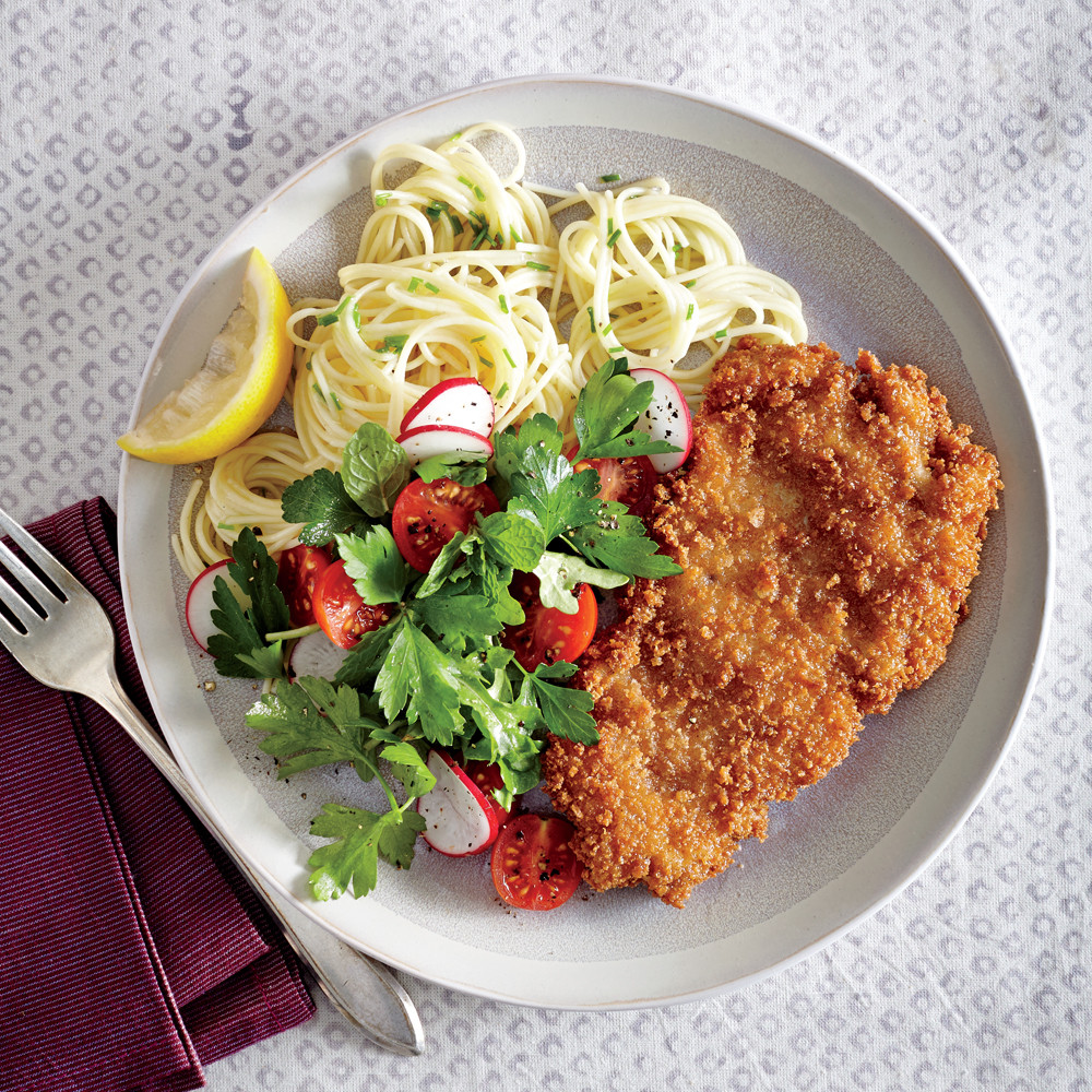 Healthy Veal Cutlet Recipes  Crispy Chicken Cutlets with Butter Chive Pasta Recipe