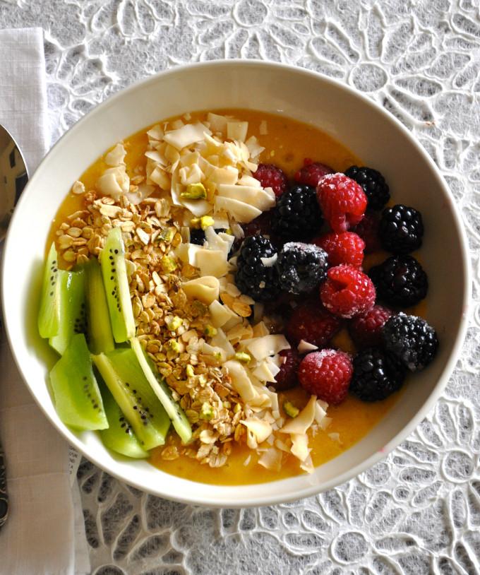 Healthy Vegan Breakfast  Healthy Vegan Breakfast Bowl with Mango Pudding