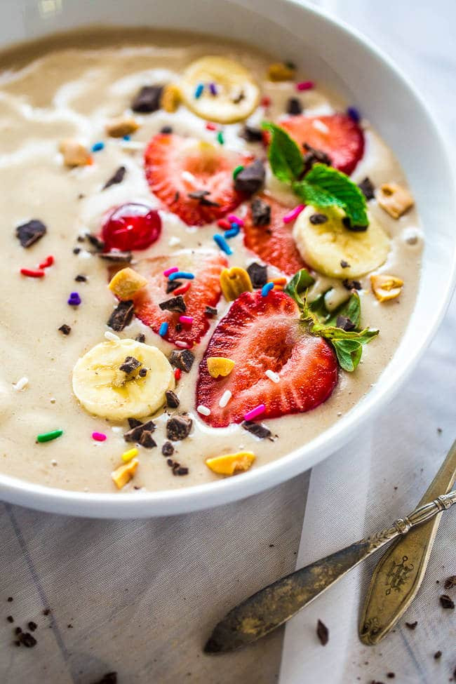 Healthy Vegan Breakfast Smoothies  Banana Split Vegan Smoothie Bowl
