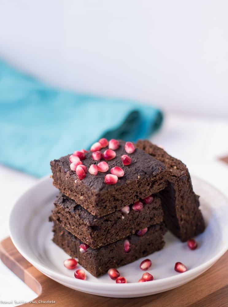 Healthy Vegan Brownies  Healthy Pomegranate Protein Brownies gluten free vegan