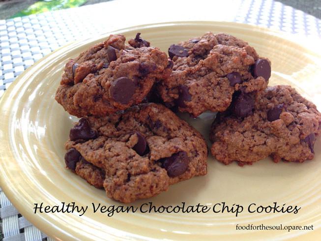 Healthy Vegan Chocolate Chip Cookies  Healthy Vegan Chocolate Chip Cookies Food For The Soul