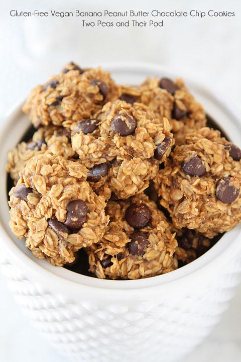Healthy Vegan Chocolate Chip Cookies  Gluten Free Vegan Banana Peanut Butter Chocolate Chip