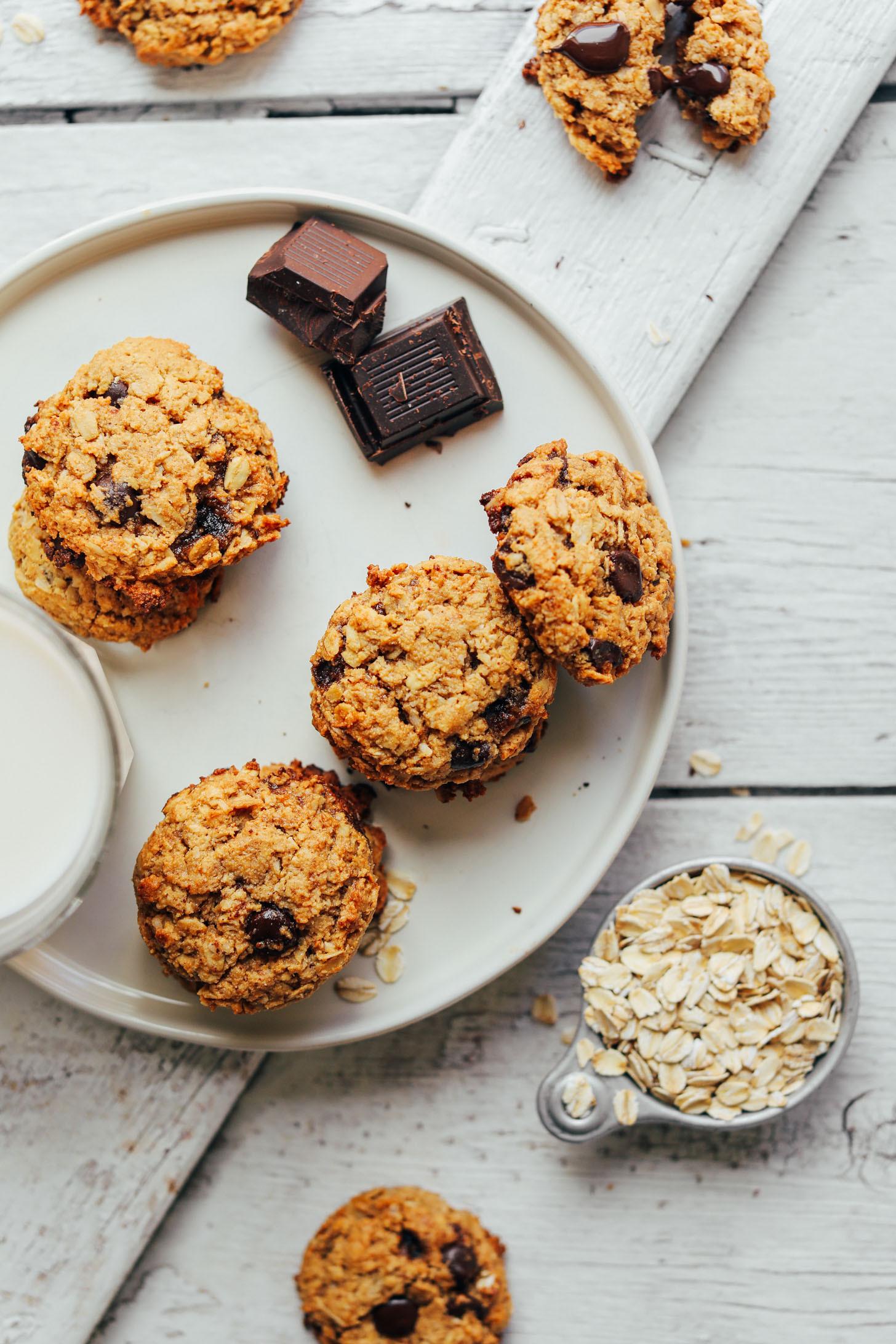 Healthy Vegan Chocolate Chip Cookies  Gluten Free Oatmeal Chocolate Chip Cookies