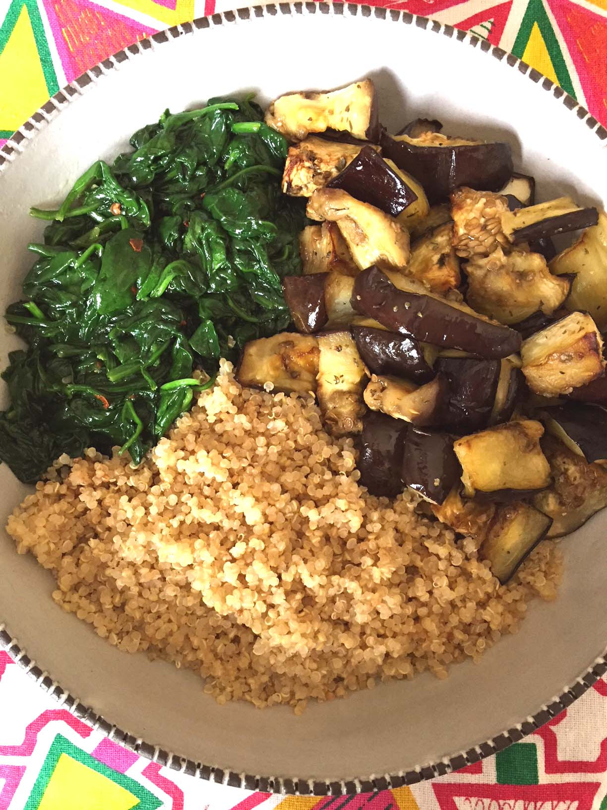 Healthy Vegan Eggplant Recipes  Vegan Quinoa Buddha Bowl With Eggplant And Spinach