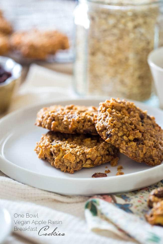 Healthy Vegan Oatmeal Raisin Cookies  Apple Breakfast Cookies with Raisins