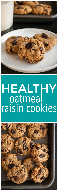 Healthy Vegan Oatmeal Raisin Cookies  Healthy Oatmeal Raisin Cookies Fooduzzi