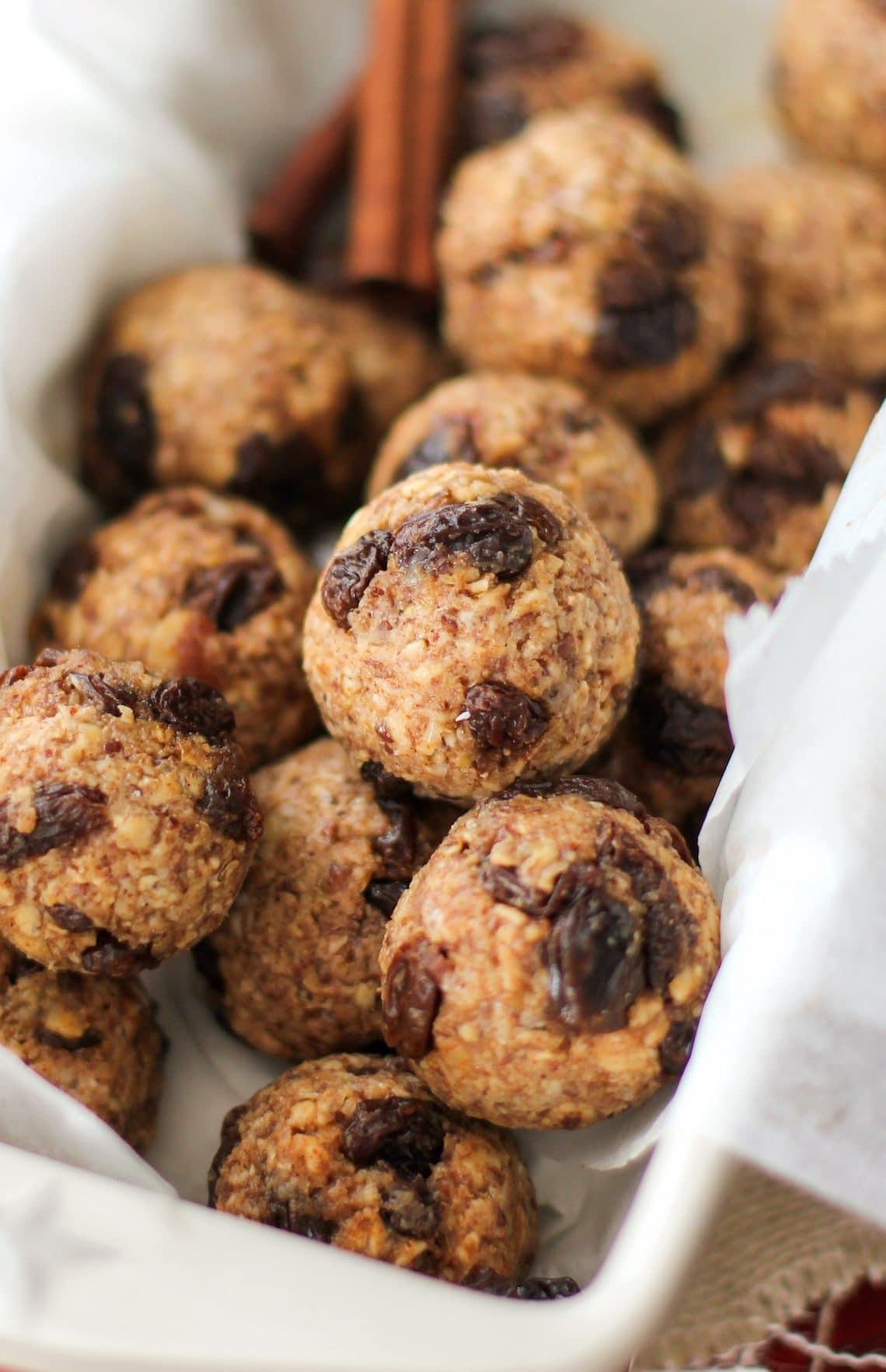 Healthy Vegan Oatmeal Raisin Cookies  Easy No Bake Oatmeal Raisin Cookie Energy Bites gluten