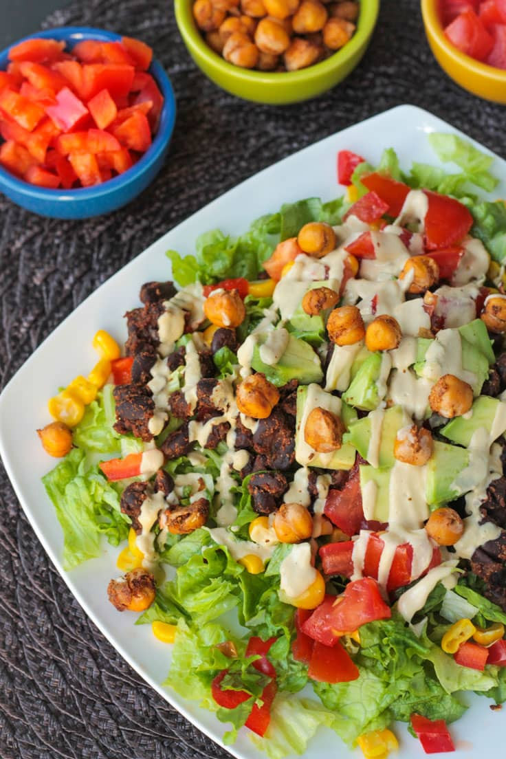 Healthy Vegan Salads  Black Bean Taco Salad w Crunchy Roasted Chickpeas