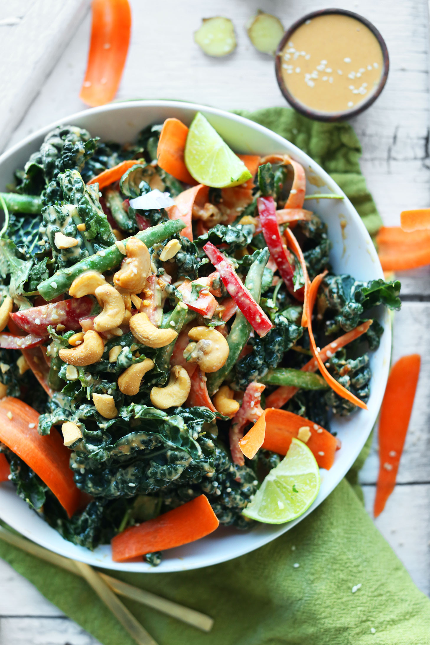 Healthy Vegan Salads  Thai Kale Salad with Cashew Dressing