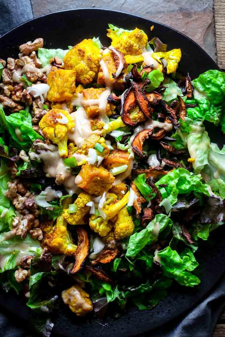 Healthy Vegan Salads  turmeric roasted cauliflower and tempeh power salad vegan