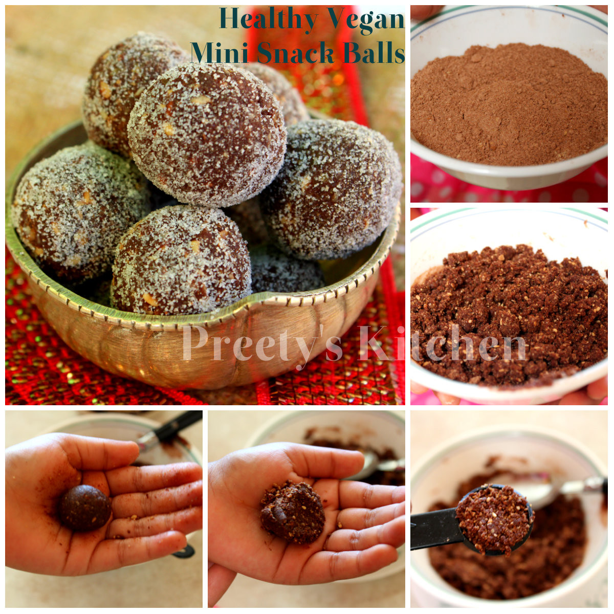 Healthy Vegan Snack Recipes  Preety s Kitchen Healthy Vegan Mini Snack Balls No Bake