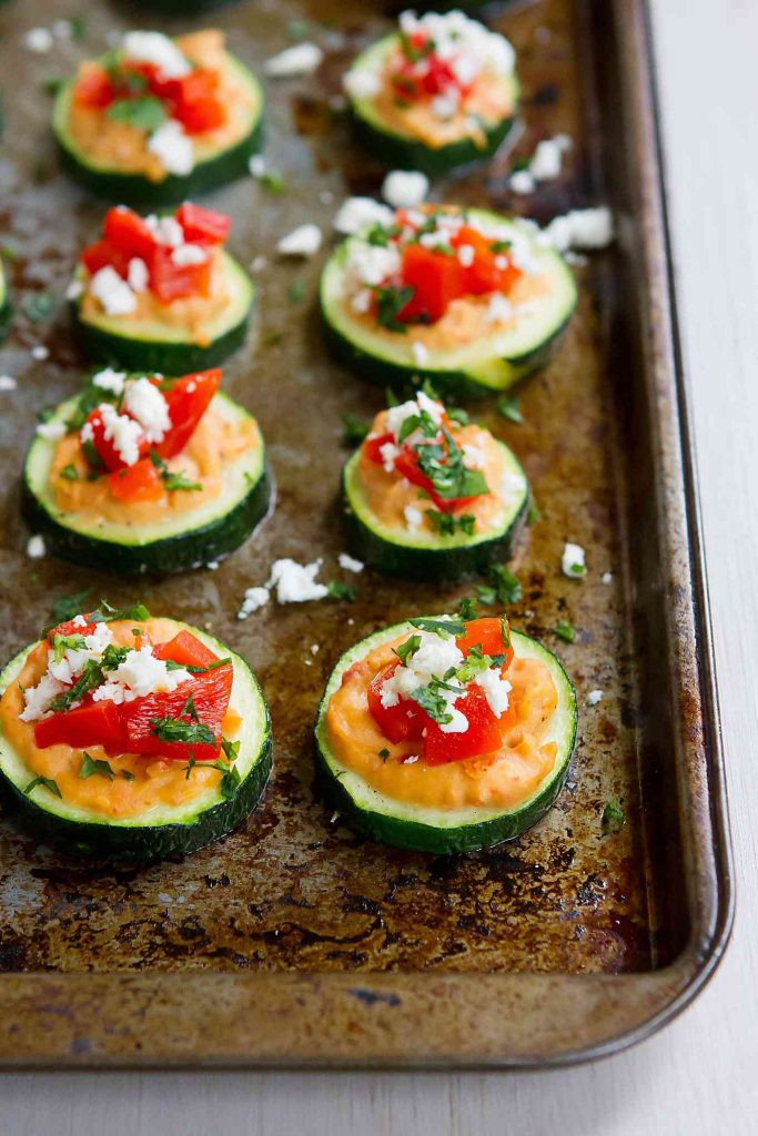 Healthy Vegetable Appetizers  Baked Zucchini Hummus Bites Healthy Snack or Appetizer