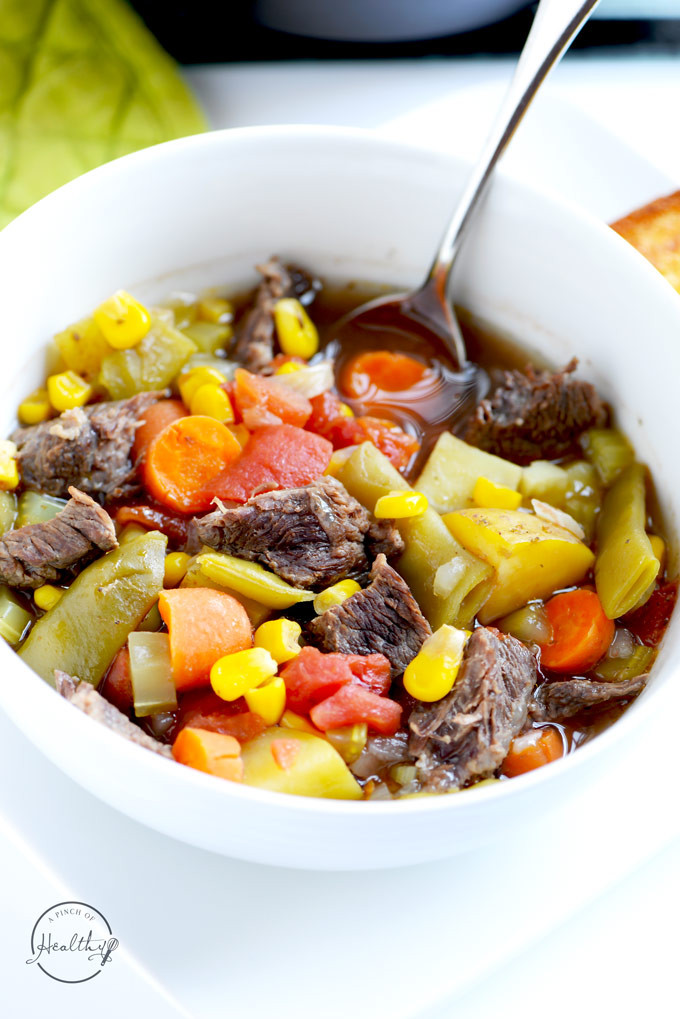 Healthy Vegetable Beef Soup  Instant Pot Ve able Beef Soup A Pinch of Healthy