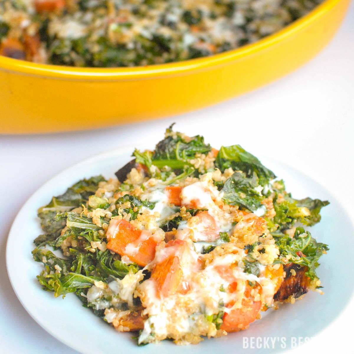 Healthy Vegetable Casserole  Kale & Roasted Ve able Quinoa Casserole