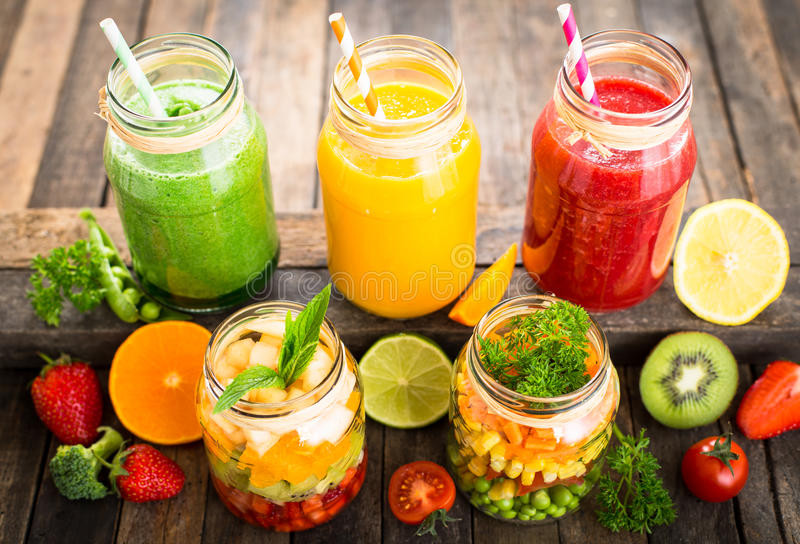 Healthy Vegetable Smoothies  Healthy Fruit And Ve able Salad And Smoothies Stock