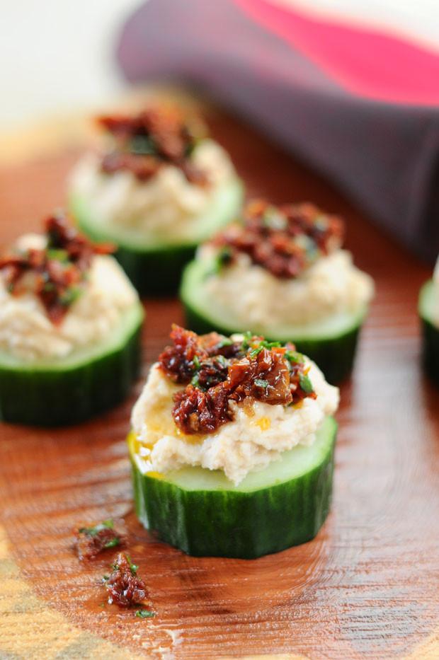 Healthy Vegetarian Appetizers  White Bean & Sun Dried Tomato Cuke Cuties Vegan Gluten Free