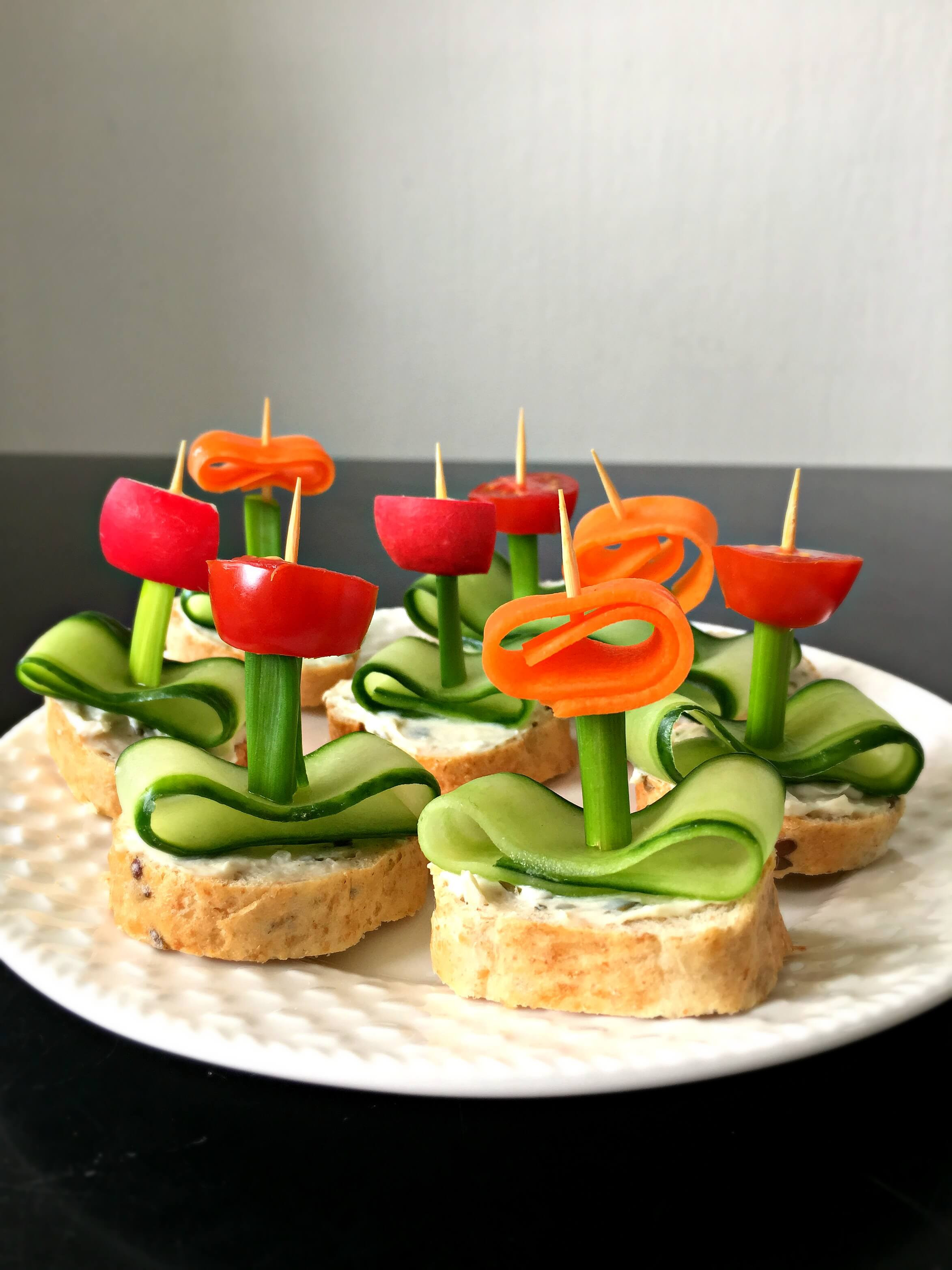 """Healthy Vegetarian Appetizers  Vegan Flower Appetizers with Herb """"Cream Cheese"""""""