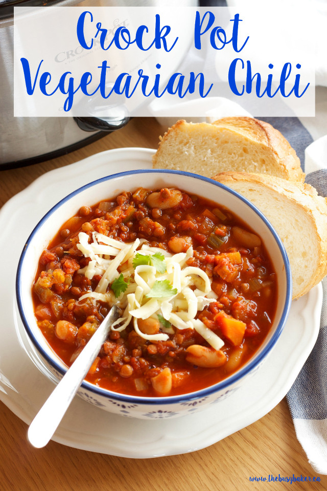 Healthy Vegetarian Chili Recipe  Crock Pot Ve arian Chili Slow Cooker The Busy Baker