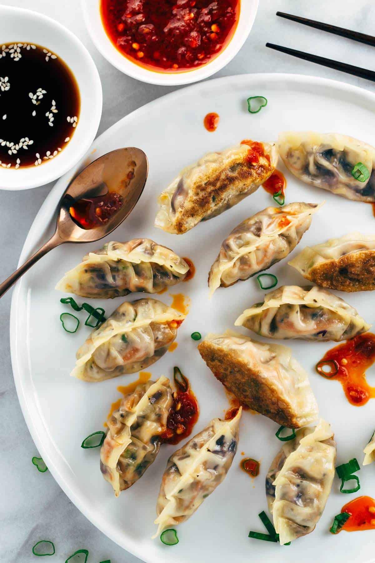 Healthy Vegetarian Dumplings  Pan Fried Crispy Ve able Tofu Dumplings Recipe Jessica