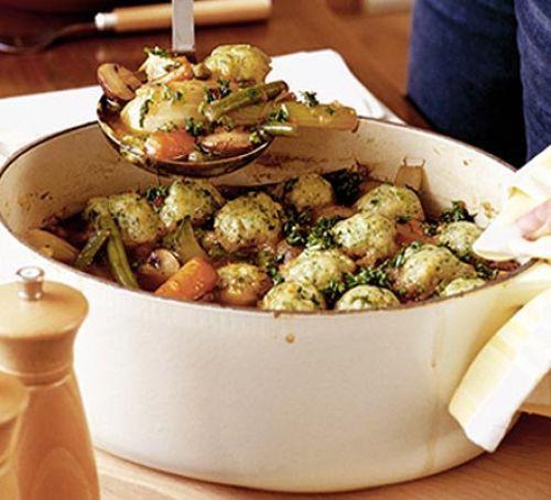Healthy Vegetarian Dumplings  Spring veggie casserole with little herb dumplings recipe