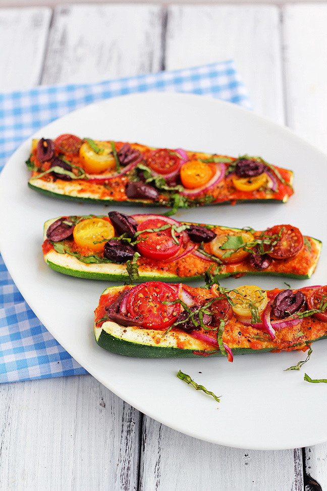 Healthy Vegetarian Recipes For Weight Loss  Zucchini Pizza Boats – Quick Healthy Ve arian Dish