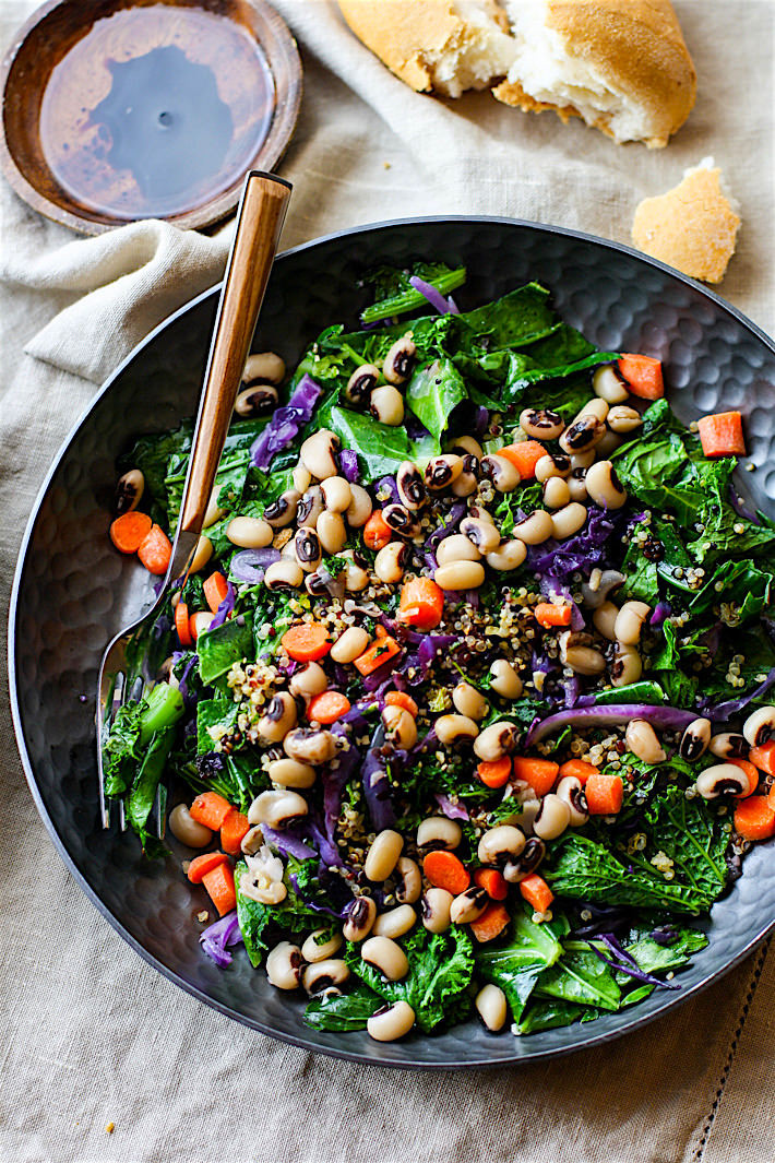 Healthy Vegetarian Salad Recipes  Vegan Rainbow Power Greens Salad with Black Eyed Peas