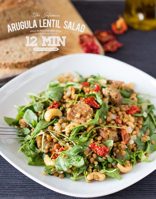 Healthy Vegetarian Salads  Arugula Lentil Salad From Heaven 12 Min Vegan Hurry