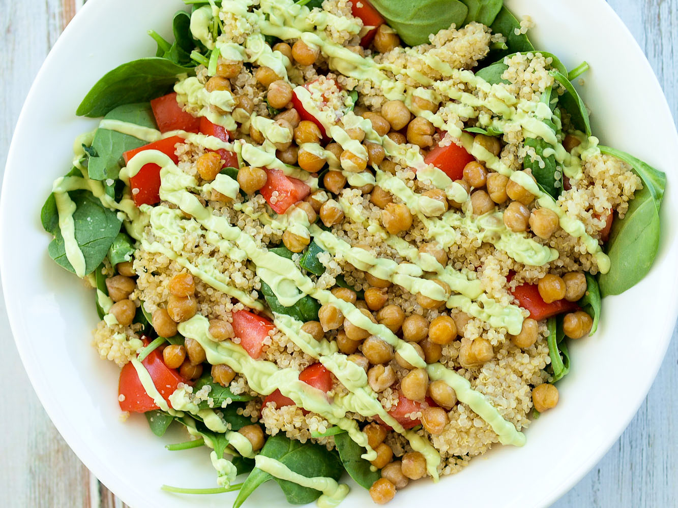 Healthy Vegetarian Salads  Loaded Spinach Salad with Creamy Avocado Basil Dressing