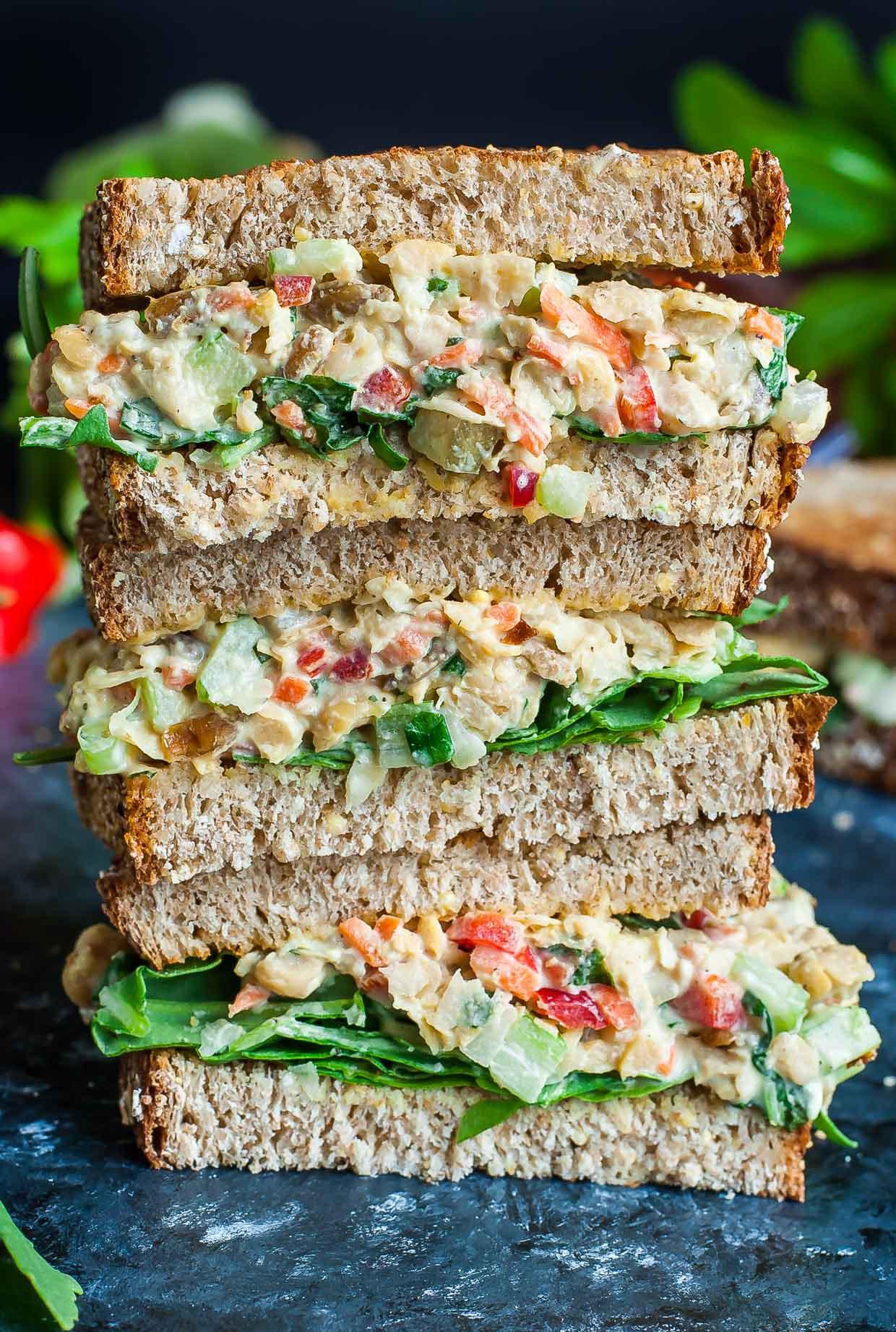 Healthy Vegetarian Sandwich Recipes  Garden Veggie Chickpea Salad Sandwich Peas And Crayons