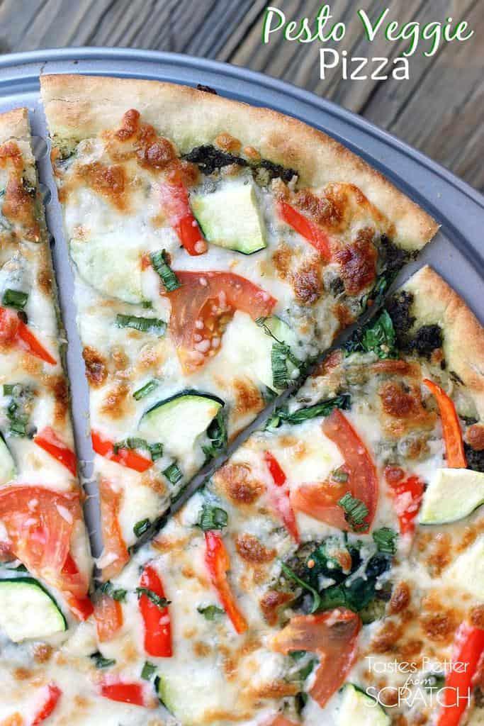 Healthy Veggie Pizza Recipe  Pesto Veggie Pizza Tastes Better From Scratch