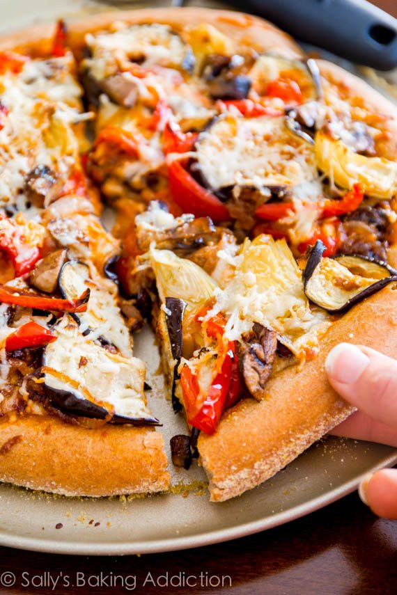Healthy Veggie Pizza Recipe  Roasted Ve able Whole Wheat Pizza Sallys Baking Addiction