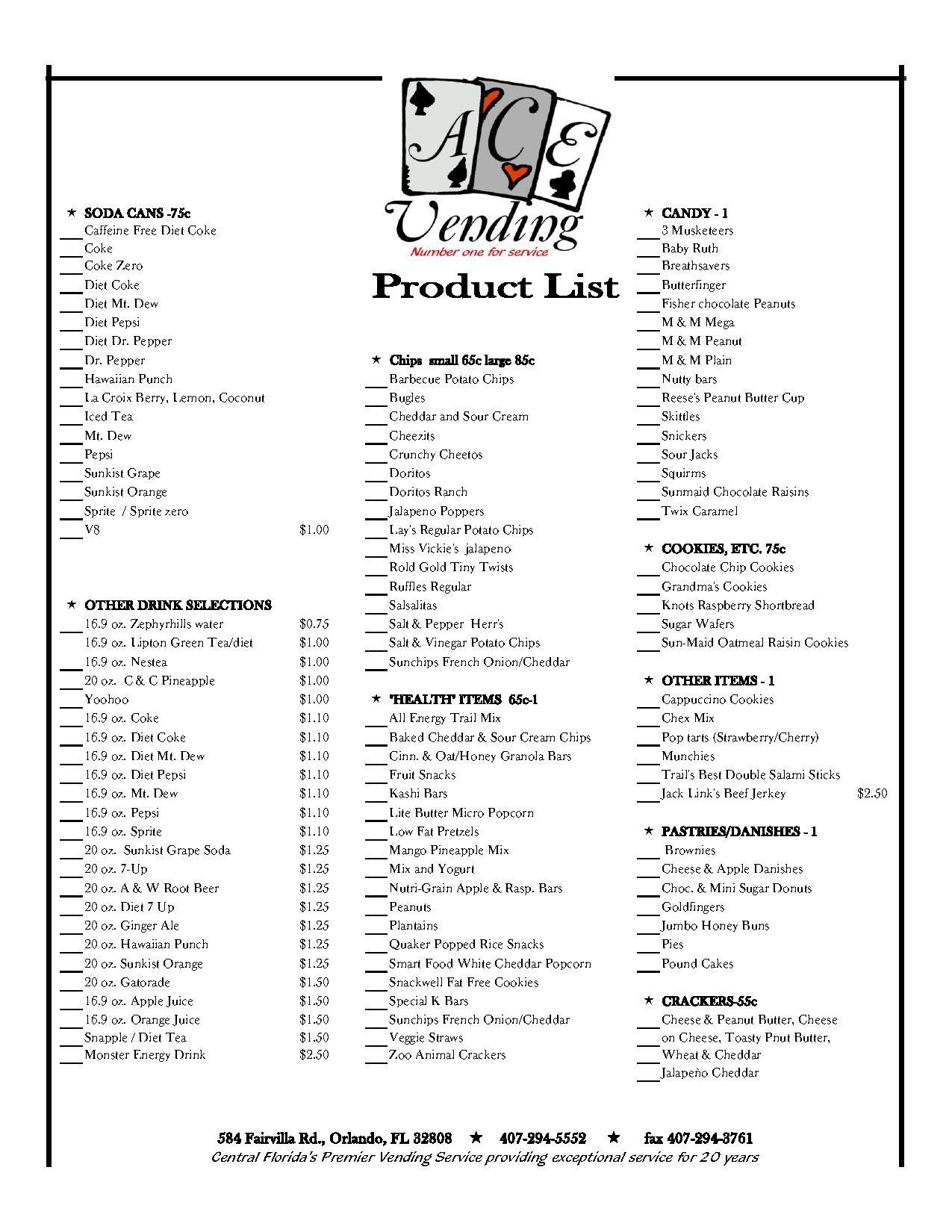 Healthy Vending Machine Snacks List  Orlando Soda Vending Vending Machines