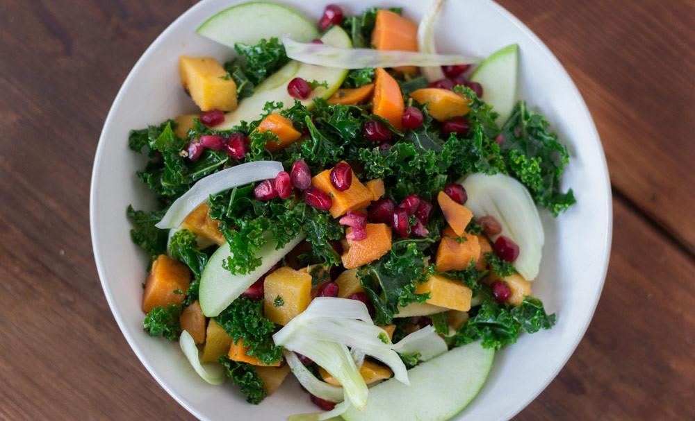Healthy Winter Salads  Winter Kale Salad with Kombucha Vinaigrette