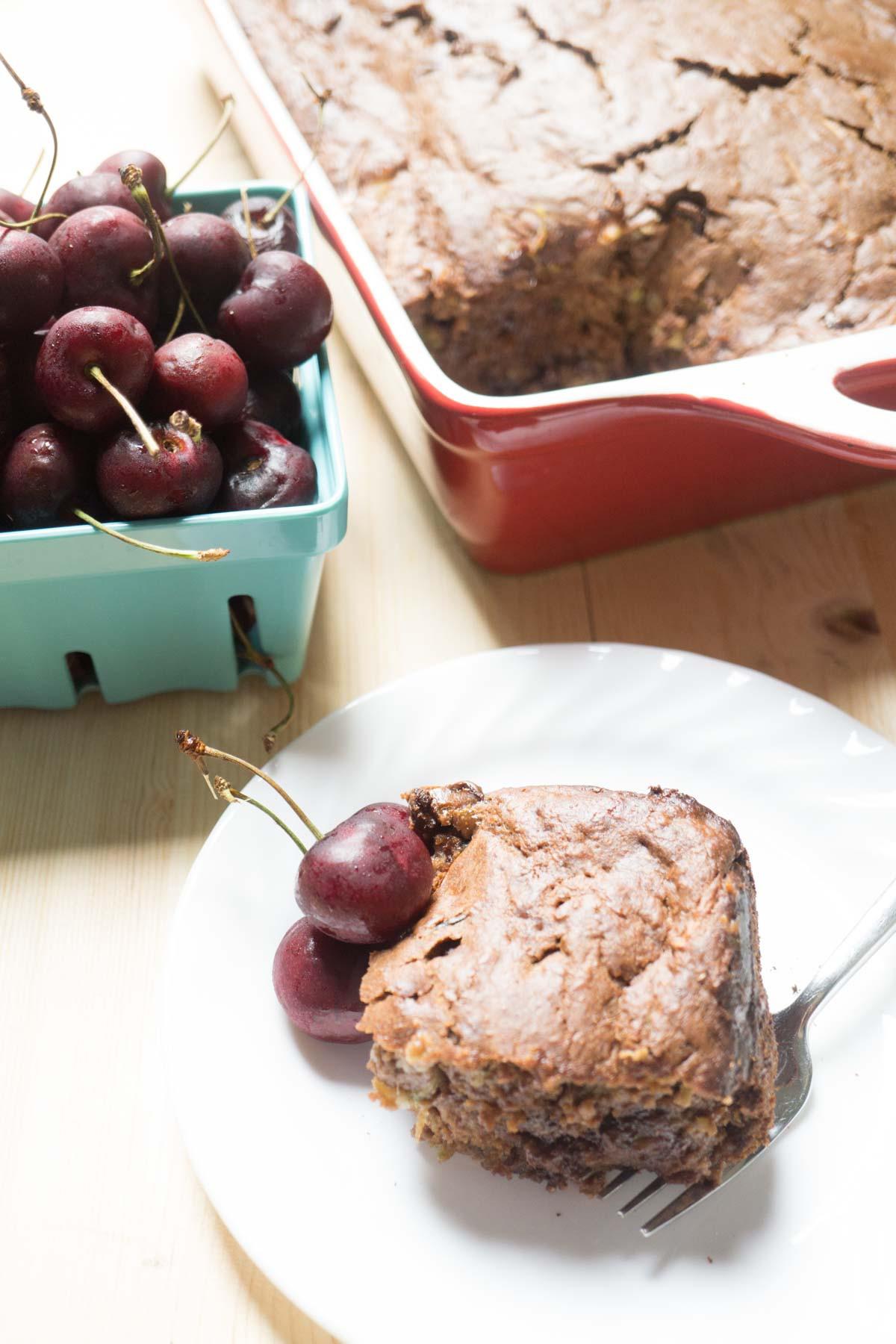 Healthy Zucchini Chocolate Cake  healthy chocolate cherry zucchini cake Smart Nutrition