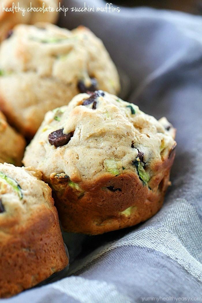 Healthy Zucchini Chocolate Chip Muffins  Healthy Chocolate Chip Zucchini Muffins Yummy Healthy Easy