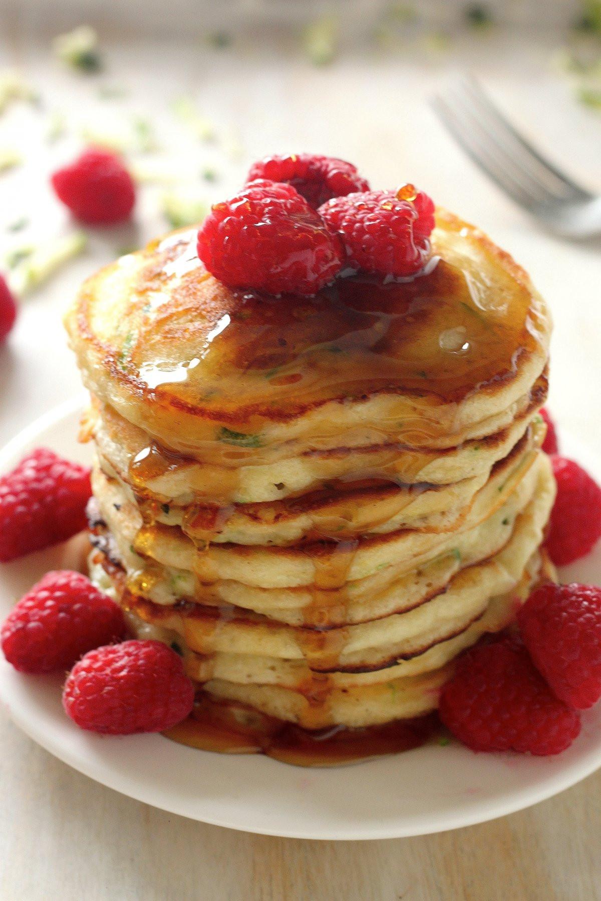 Healthy Zucchini Pancakes  Healthy Greek Yogurt Zucchini Pancakes Baker by Nature