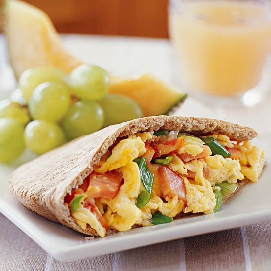 Heart Healthy Breakfast Ideas  Eggs and Canadian Bacon in Pita Pockets Recipe