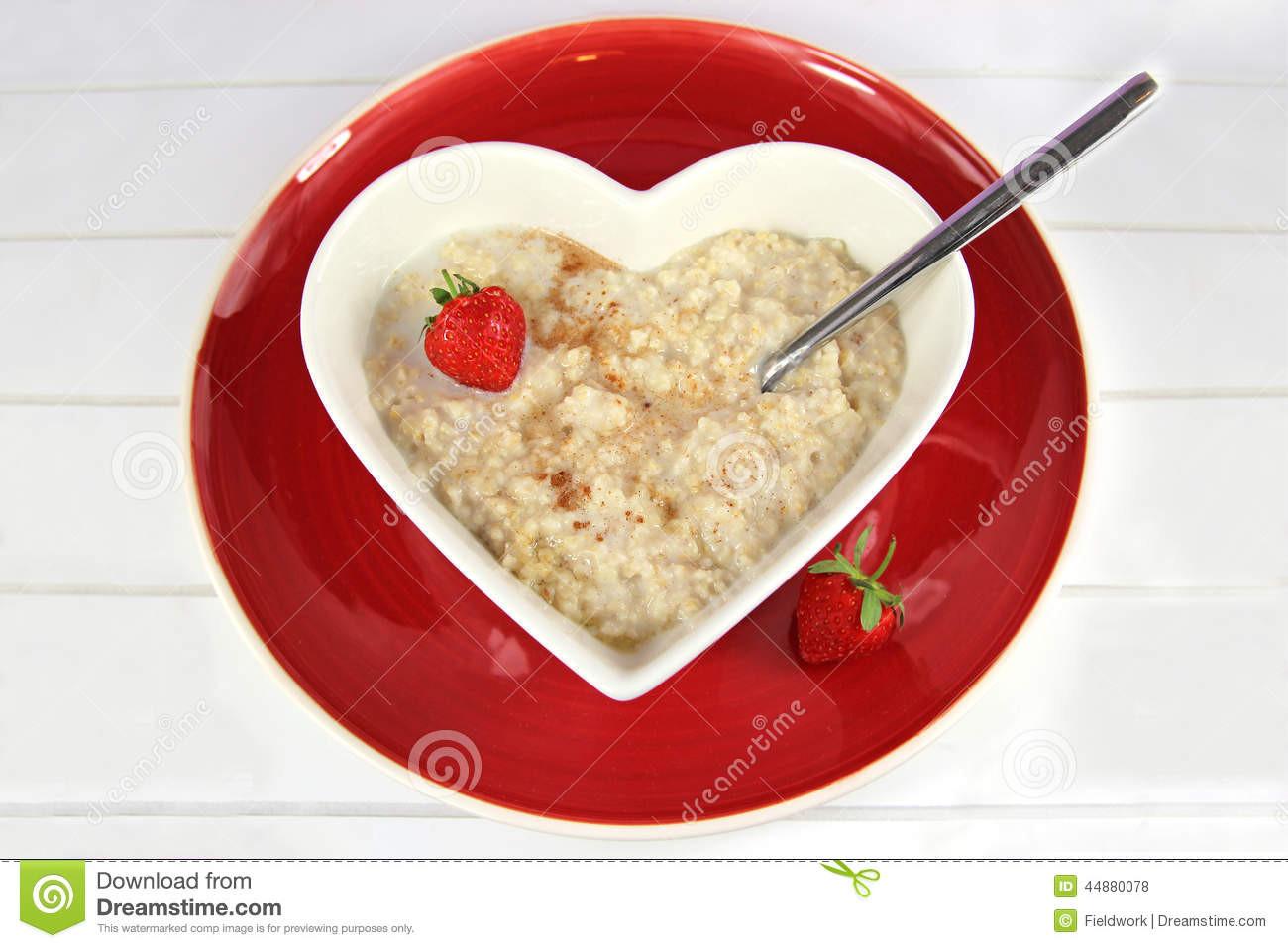Heart Healthy Breakfast  Breakfast Oatmeal Porridge In A Heart Bowl With